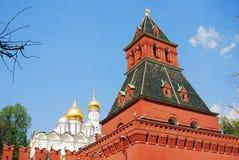 Moscow Kremlin tower. Archangels church. Stock Photo