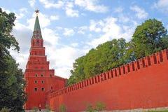 Moscow Kremlin tower. Blue sky background. Stock Photos