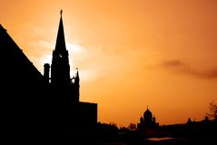 Moscow Kremlin tower, Christ the Savior Church silhouette Stock Photos