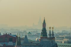 Moscow Kremlin tower, city roofs, silhouette of the Moscow State royalty free stock photo