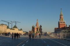 Moscow Kremlin. Tower, Red Square, blue sky, city, street Stock Photo