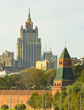 Moscow, Kremlin tower and skyscraper Stock Photo