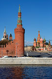 Moscow. Kremlin tower. St. Basil's Cathedral. Stock Image