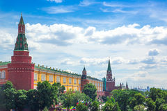 Moscow Kremlin towers and Alexander Garden, aerial panorama. Russia stock image