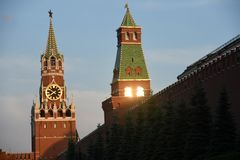 Moscow Kremlin towers. Blue sky background. Color photo. No people royalty free stock photos