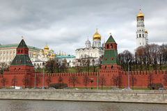 Moscow Kremlin Towers with Churches view through Moskva river an Royalty Free Stock Photo