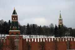 Moscow Kremlin towers. Color winter photo. Kremlin is a UNESCO World Heritage Site stock photography