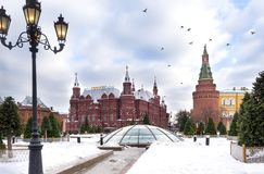 Moscow, Kremlin towers, historical Museum building, birds in the sky over red square, winter, Moscow Kremlin view. Moscow, Kremlin towers, historical Museum royalty free stock photo