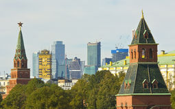 Moscow, Kremlin towers and modern buildings Royalty Free Stock Photo