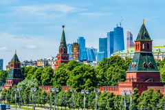 Moscow Kremlin towers and modern skyscrapers Royalty Free Stock Images