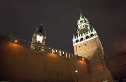 Moscow Kremlin towers with night lighting close up Royalty Free Stock Photo