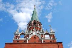 Moscow Kremlin, Trinity (Troitskaya) Tower. Moscow Kremlin inside, The Trinity (Troitskaya) Tower in a sunny day. UNESCO World Heritage Site Stock Photo