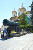 The Moscow Kremlin  Tsar cannon 1586  Master Andrey Chokhov  Russia  July  Summer day  Heat. The Moscow Kremlin  Tsar cannon 1586  Master Andrey Chokhov  Russia Stock Photos