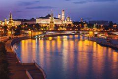Moscow Kremlin in Twilight. View on Moscow Kremlin behind Bolshoy Kamenny Bridge (Greater Stone Bridge stock photos