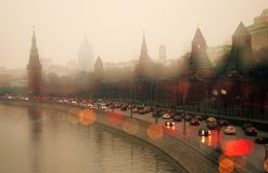 Moscow Kremlin. UNESCO World Heritage Site. View of the Moscow Kremlin, a popular touristic landmark. UNESCO World Heritage Site. Soft focus photo. Rainy day