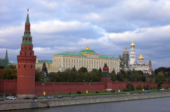 Moscow Kremlin wall. Moscow river, Russia Stock Photos