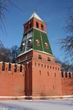 Moscow. Kremlin wall. The 1st Bezimyannaya tower. Royalty Free Stock Photos