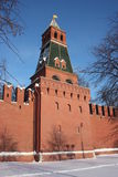 Moscow. Kremlin wall. The 2nd Bezimyannaya tower. Royalty Free Stock Images