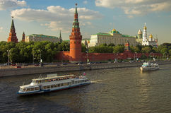 Moscow Kremlin wall. Moscow river, Russia Royalty Free Stock Photo