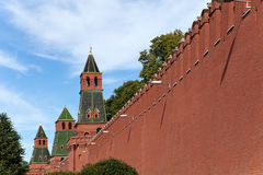 Moscow, Kremlin wall Against the dark blue sky Stock Photo