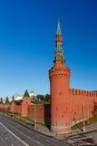 Moscow Kremlin Wall and Beklemishevskaya Tower Royalty Free Stock Images