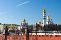 Moscow Kremlin wall and cathedrals in the winter day Royalty Free Stock Photos