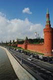 Moscow Kremlin Wall from the embankment. Towers of the Moscow Kremlin. View from the bridge Royalty Free Stock Photo