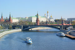 Moscow Kremlin wall, Moscow river Royalty Free Stock Image
