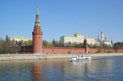 Moscow Kremlin wall, Moscow river Stock Images
