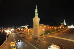 Moscow Kremlin wall by night. Russia. Stock Image