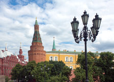 Moscow Kremlin wall and tower in Alexander Garden. In Moscow summer day Stock Image