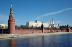 Moscow Kremlin wall with towers royalty free stock image