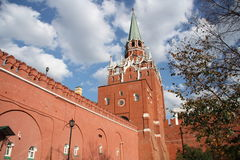 Moscow Kremlin wall and the Troitskaya tower Stock Image