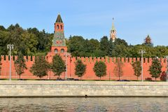 Moscow Kremlin. Walls and towers. Russia. Moscow Kremlin in autumn. Old red walls and towers stock photo