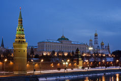 Moscow Kremlin by winter night Stock Photos