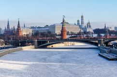 Moscow Kremlin in winter. royalty free stock images