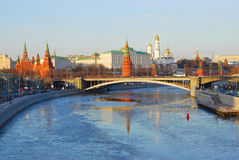 Moscow Kremlin. Winter View. Beautiful Water Reflection. Stock Images