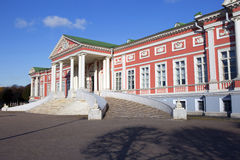 Moscow. Kuskovo. The Palace of Kuskovo estate was intended for Grand receptions. The architectural concept of the Palace in the style of early Russian stock images