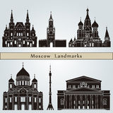 Moscow landmarks and monuments. Isolated on blue background in editable vector file Royalty Free Stock Photography