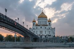 Moscow, landscape with view on temple of Christ the Savior on sunset royalty free stock photos