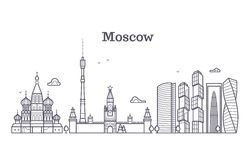 Moscow linear russia landmark, modern city skyline, vector panorama with soviet buildings. Moscow city line, illustration of drawing moscow town Stock Photography