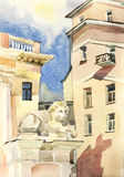 Moscow lion guardian watercolor. Moscow cityscape with lion guardian original watercolor urban architecture Royalty Free Stock Photography