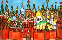 moscow målning stock illustrationer