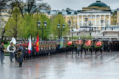 Moscow major SERGEY SOBYANIN and deputies of the MOSCOW CITY DUMA laid a wreath at the Tomb of the Unknown Soldier near the Kreml. MOSCOW, RUSSIA - MAY 08, 2017 stock images