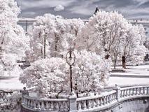 Moscow. Manezhnaya Square  and Alexander Garden. Infrared photo Stock Photo