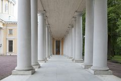 Moscow, Manor Arkhangelskoe. Colonnade of the palace, in the form of a long gallery with arches. MOSCOW, RUSSIA - 26 May, 2017 : Moscow, Manor Arkhangelskoe Royalty Free Stock Photo