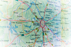 Moscow map. Roads. paper. concept Stock Image