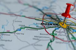 Moscow on map Royalty Free Stock Photo