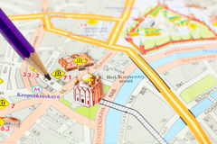 Moscow map detail - focus on city center Royalty Free Stock Photo