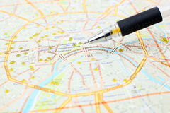 Moscow map detail - focus on Moscow city center Stock Photography